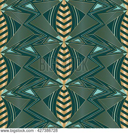Vector Golden Bees Art Deco Dark Seamless Pattern