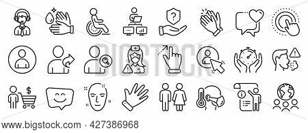 Set Of People Icons, Such As Shipping Support, Sick Man, Global Business Icons. Manual Doc, Refer Fr