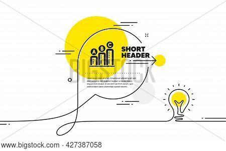 Graph Icon. Continuous Line Idea Chat Bubble Banner. Column Chart Sign. Ab Test Diagram Symbol. Grap