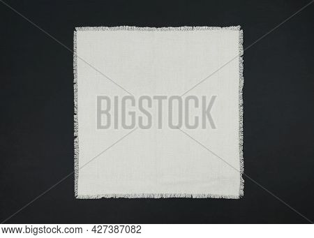 Empty Table Background. Top View Of A Empty Cloth, Textile, Tablecloth Or Napkin On A Rustic Table.