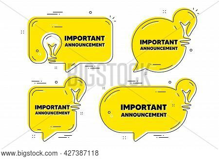 Important Announcement Text. Idea Yellow Chat Bubbles. Special Offer Sign. Advertising Discounts Sym
