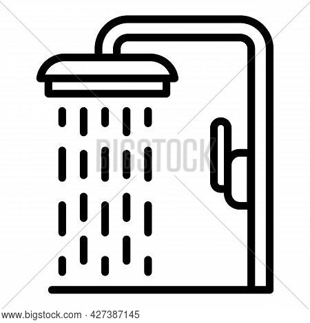 Pool Shower Icon. Outline Pool Shower Vector Icon For Web Design Isolated On White Background