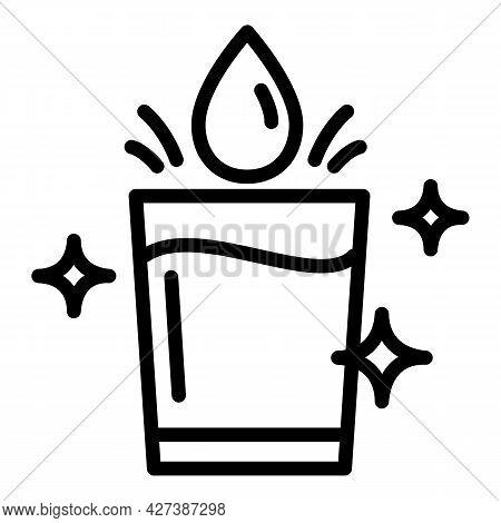 Filtered Water Glass Icon. Outline Filtered Water Glass Vector Icon For Web Design Isolated On White