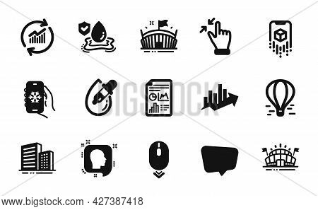 Vector Set Of Head, Augmented Reality And Report Document Icons Simple Set. Sports Arena, Arena And