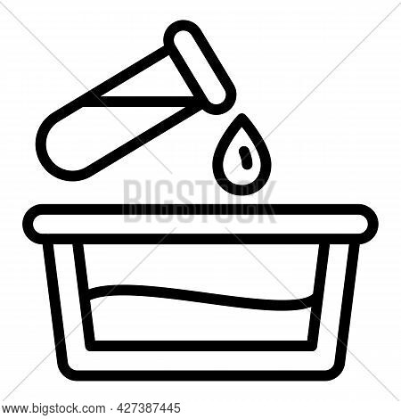 Water Filter Test Tube Drop Icon. Outline Water Filter Test Tube Drop Vector Icon For Web Design Iso