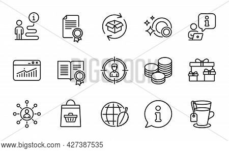 Line Icons Set. Included Icon As Return Parcel, Diploma, Environment Day Signs. Clean Dishes, Tips,