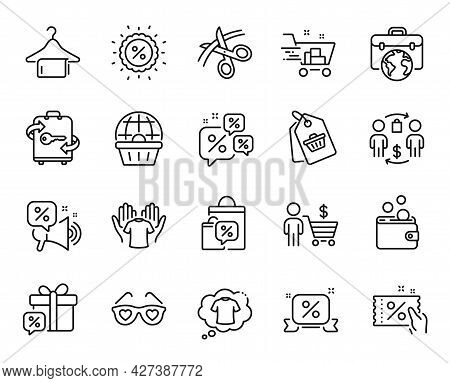 Vector Set Of Online Shopping, Discounts Chat And Discounts Ribbon Line Icons Set. Luggage, Sale Bag