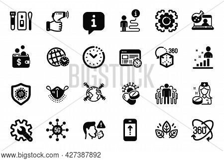 Vector Set Of Science Icons Related To Augmented Reality, Group And Web Timer Icons. Covid Test, Org