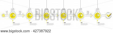 Lightbulb Journey Path Infographics. Trade Infographic Timeline With 6 Steps. Shopping Process Diagr