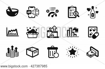 Vector Set Of Office Box, Cooking Mix And Love Champagne Icons Simple Set. Trade Chart, Augmented Re
