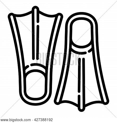 Diving Fins Icon. Outline Diving Fins Vector Icon For Web Design Isolated On White Background
