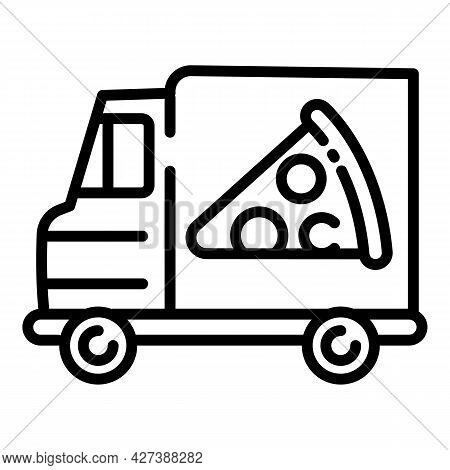 Pizza Food Truck Icon. Outline Pizza Food Truck Vector Icon For Web Design Isolated On White Backgro