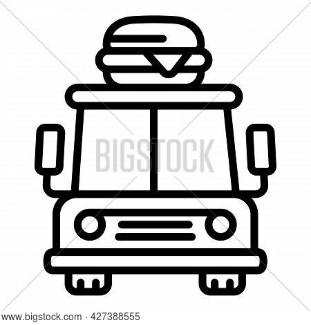Front View Food Truck Icon. Outline Front View Food Truck Vector Icon For Web Design Isolated On Whi