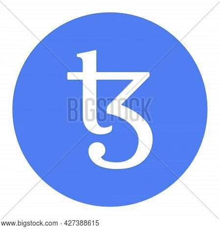 Tezos Xtz Token Symbol Cryptocurrency Logo, Coin Icon In Circle Isolated On White Background. Vector