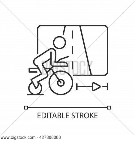 Virtual Cycling Linear Icon. Online Fitness Rally Sport. Racing Vr Bike Competition. Thin Line Custo