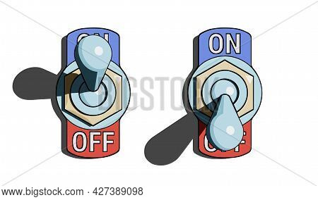 Set Of Toggle Switches Turned On And Turned Off With Shadow On White Background. Vector Illustration