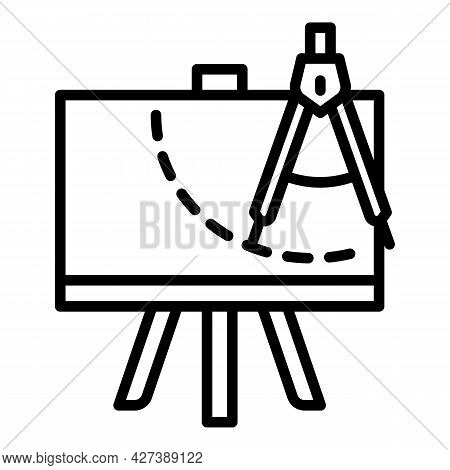 Drawing Compass Plan Icon. Outline Drawing Compass Plan Vector Icon For Web Design Isolated On White