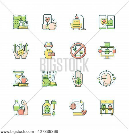Lifestyle Trends Rgb Color Icons Set. Hygge, Cozy Atmosphere. Health Tracking. Digital Detox. Vintag