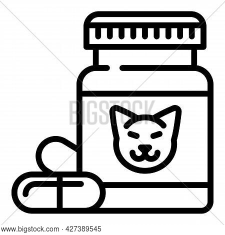 Pet Pill Jar Icon. Outline Pet Pill Jar Vector Icon For Web Design Isolated On White Background
