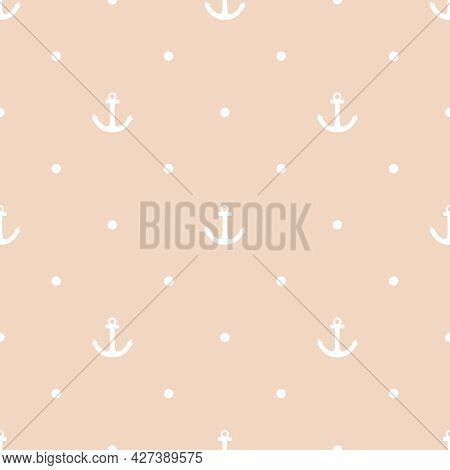 Tile Sailor Vector Pattern With Seamless Anchor And White Polka Dots On Pastel Background
