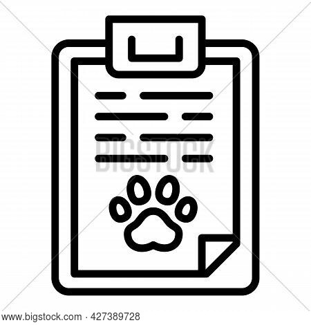 Pet Dog Clipboard Icon. Outline Pet Dog Clipboard Vector Icon For Web Design Isolated On White Backg