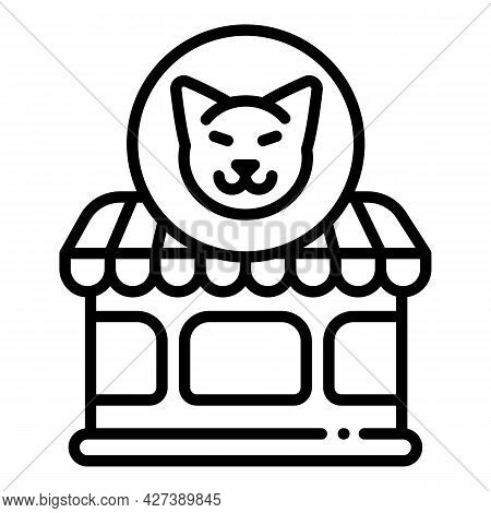 Pet Cat Shop Icon. Outline Pet Cat Shop Vector Icon For Web Design Isolated On White Background