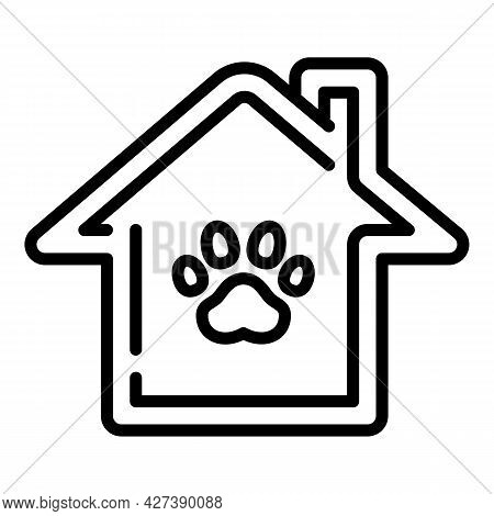 Pet Hotel House Icon. Outline Pet Hotel House Vector Icon For Web Design Isolated On White Backgroun