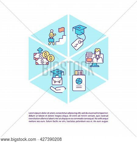 International Intern Programs Concept Line Icons With Text. Ppt Page Vector Template With Copy Space
