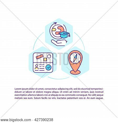 Study Abroad Concept Line Icons With Text. Ppt Page Vector Template With Copy Space. Brochure, Magaz