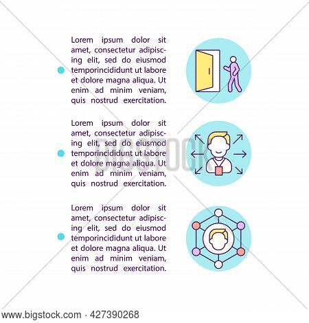 Unlock New Opportunities Concept Line Icons With Text. Ppt Page Vector Template With Copy Space. Bro
