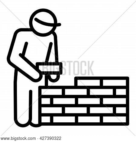 Masonry Worker Wall Icon. Outline Masonry Worker Wall Vector Icon For Web Design Isolated On White B