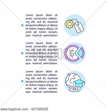 Paid And Unpaid Internship Concept Line Icons With Text. Ppt Page Vector Template With Copy Space. B