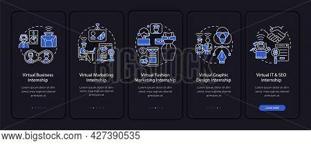 Virtual Internship Areas Onboarding Mobile App Page Screen. Marketing, Fashion Walkthrough 5 Steps G