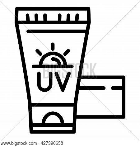 Sunscreen Cream Tube Icon. Outline Sunscreen Cream Tube Vector Icon For Web Design Isolated On White