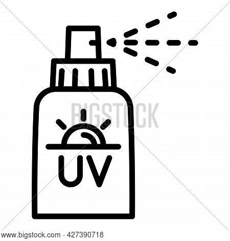 Uv Spray Bottle Icon. Outline Uv Spray Bottle Vector Icon For Web Design Isolated On White Backgroun