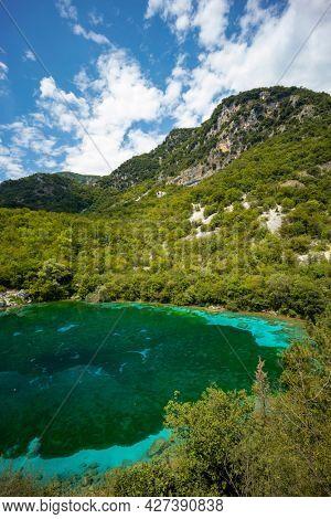 blue bottom at a depth of Lago di Cornino, Italy