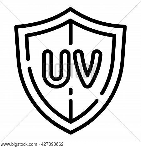 Uv Shield Protection Icon. Outline Uv Shield Protection Vector Icon For Web Design Isolated On White