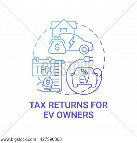 Future Transport Owners Tax Returns Concept Icon. Ev Zero Emissions Abstract Idea Thin Line Illustra