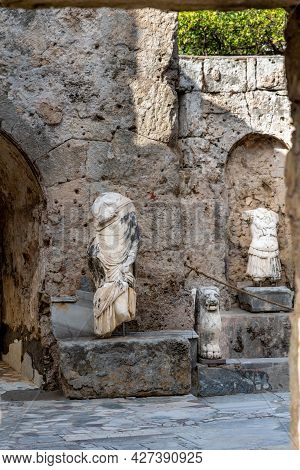Antalya, Turkey - July 18, 2021: Sculptures And Ancient Ruins In The Side Archeology Museum, Antalya