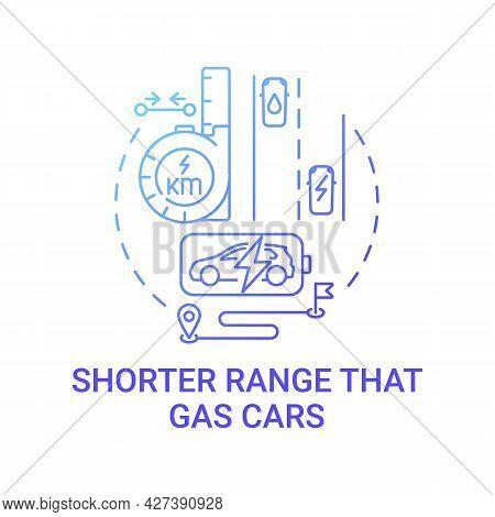 Ev Short Range Concept Icon. Electric Vehicle Low Emission Abstract Idea Thin Line Illustration. Env