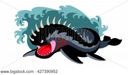 Black Attacking Leviathan In The Sea Waves, A Fantastic Creature, A Monster, A Biblical Character, C