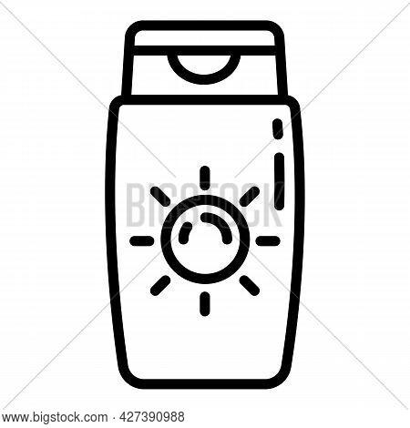 Solar Sunscreen Bottle Icon. Outline Solar Sunscreen Bottle Vector Icon For Web Design Isolated On W