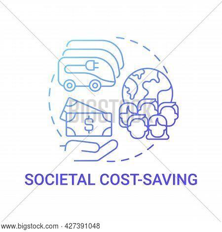 Eco-friendly Societal Cost Saving Concept Icon. Future Transport Quantifying Benefits Abstract Idea