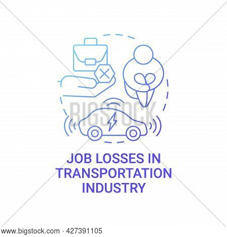 Future Transport Unemployment Threat Concept Icon. Electric Vehicles Job Losses Problem Abstract Ide