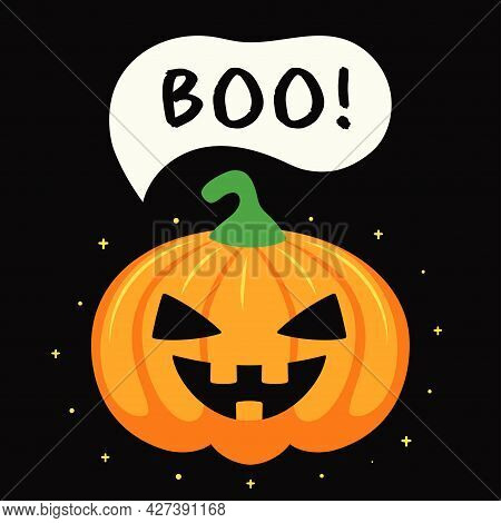 Halloween Card Or Poster With Cute Cartoon Scary Pumpkin And Text Boo, Childish Vector Illustration