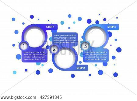Blue Business Vector Infographic Template. Info Map Presentation Design Elements With Text Space. Da