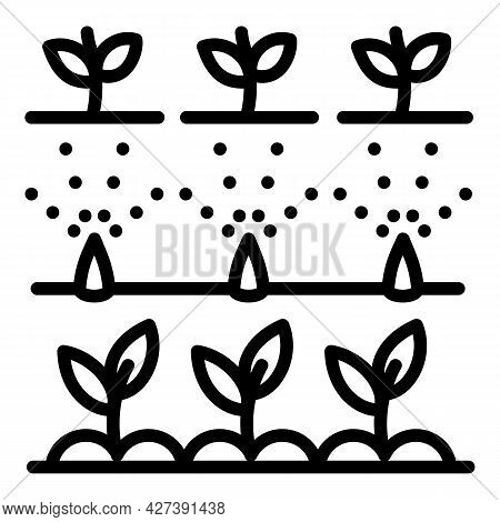 Plants Irrigation Icon. Outline Plants Irrigation Vector Icon For Web Design Isolated On White Backg