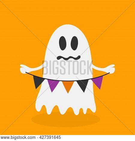 Cute Ghost Holding Bunting Flag. Happy Halloween. Cute Cartoon Ghost Spirit, Isolated On Orange Back