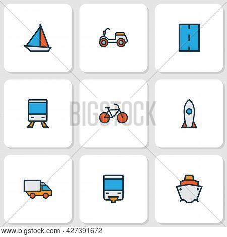 Shipment Icons Colored Line Set With Sail Boat, Moped, Bike And Other Spaceship Elements. Isolated V