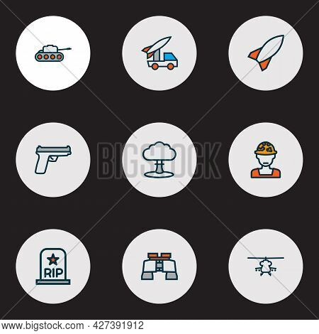 Army Icons Colored Line Set With Gun, Military Helicopter, Soldier And Other Military Elements. Isol